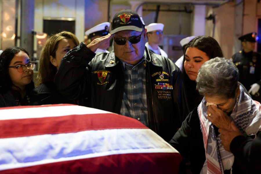 Amanda Santos, Gena Valencia, Ruben Valencia, Taylor Santos and Emily Valencia, left to right, meet Raul Guerra's casket after waiting more than 50 years to bring him home at Los Angeles International Airport on April 23, 2019, in Los Angeles, California. Ruben and Raul met in the fifth grade. They went to church together, ate hot dogs together. Raul was Ruben's best man at his wedding. In 1967 Guerra, 24, was killed serving in Vietnam.