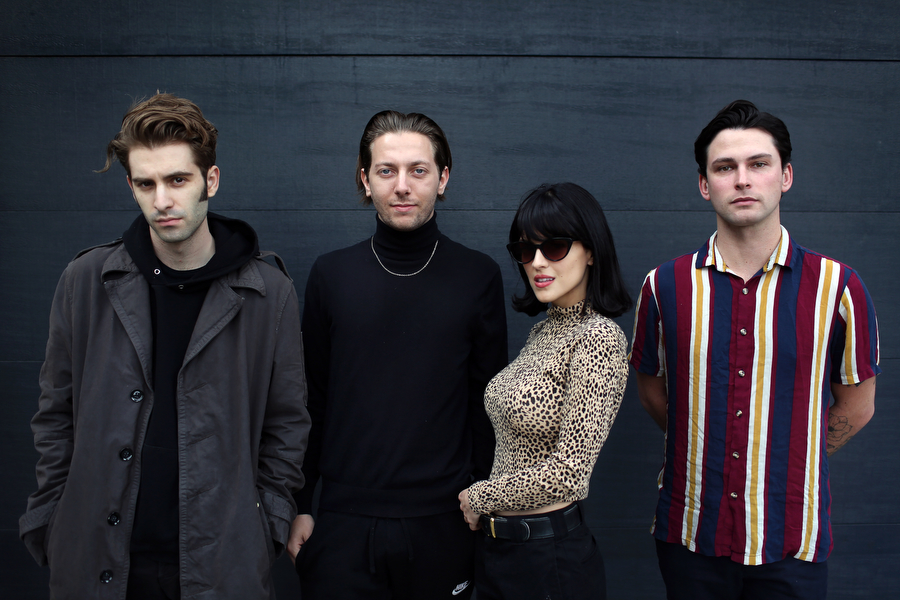 Jesse Perlman, Josh Conway, María, and Edward James, left to right, members of the band The Marías, stand for a portrait on March 20, 2019, in Los Angeles, California.