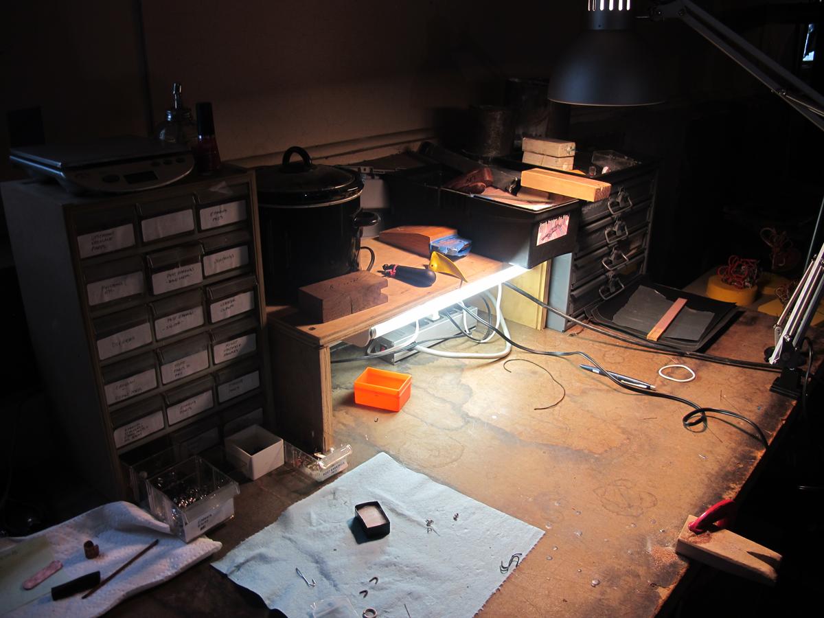 Baroque desk scene in Laura's studio.