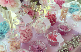 Our signature lolly buffet with all of your favourite lollies to suit the theme of your event. Candy is displayed is stylish apothecary glass jars where guests will enjoy filling their goodie bags for a perfect wedding or party take home souvenir.
