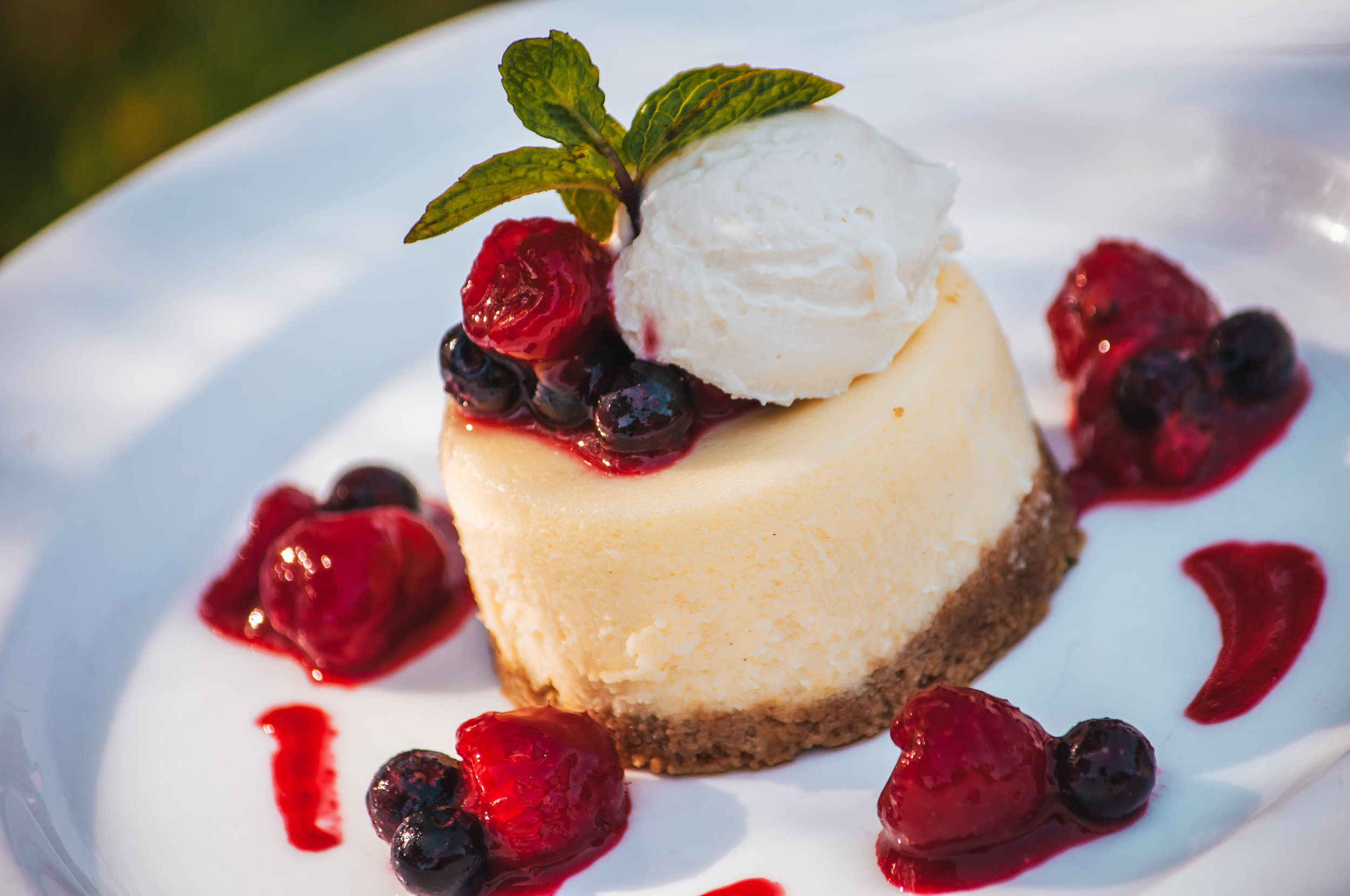 Cheesecake and Berry Compote