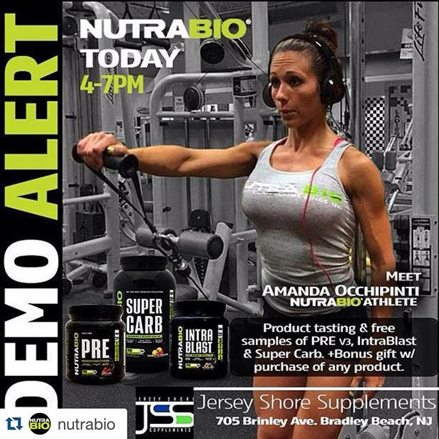 #Repost @nutrabio with @repostapp. ・・・ ‼️NutraBio Demo Alert‼️ Come by @jerseyshoresupplements and get your NutraBio supplements from 4 to 7 PM. #NutraBio Athlete Amanda Occhipinti will be on hand to answer any of your training, supplement, and nutrition questions! You'll be able to sample supplements, like IntraBlast - the ultimate EAA&BCAA intra-workout fuel, PRE - the explosive pre-workout, and SuperCarb - the performance and recovery fuel. See you there!  #jerseyshore #demotour #nutrabionation #NutraBio #withoutcompromise