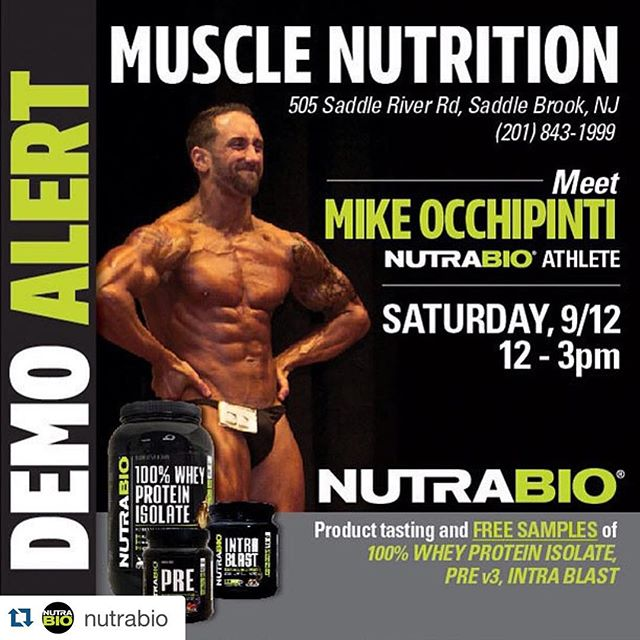 ‼️NutraBio Demo Alert‼️ Come by @musclenutrition_saddlebrook in NJ this Saturday from 12-3pm. Sample #NutraBio #PRE, #INTRABLAST, #WheyProteinIsolate and more! I will be there to talk supps and answer any fitness/nutrition questions you may have. #WITHOUTCOMPROMISE #fitness #supplements #strength #muscle #trainhard