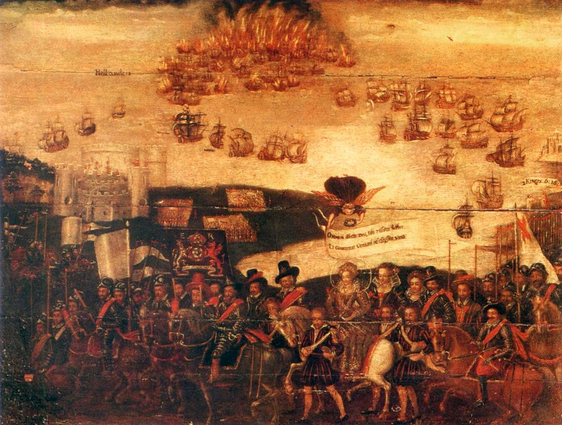 Elizabeth I at Tilbury addressing the troops on the eve of the Spanish Armada.