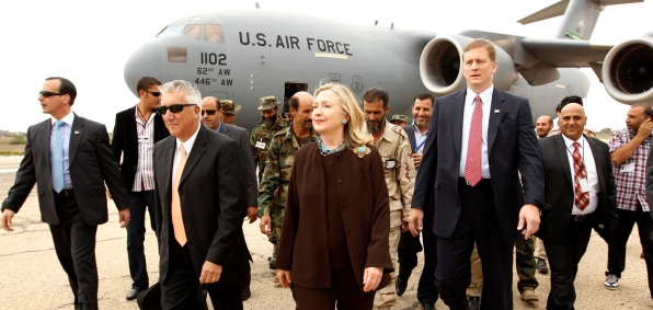Secretary Clinton arriving in Libya