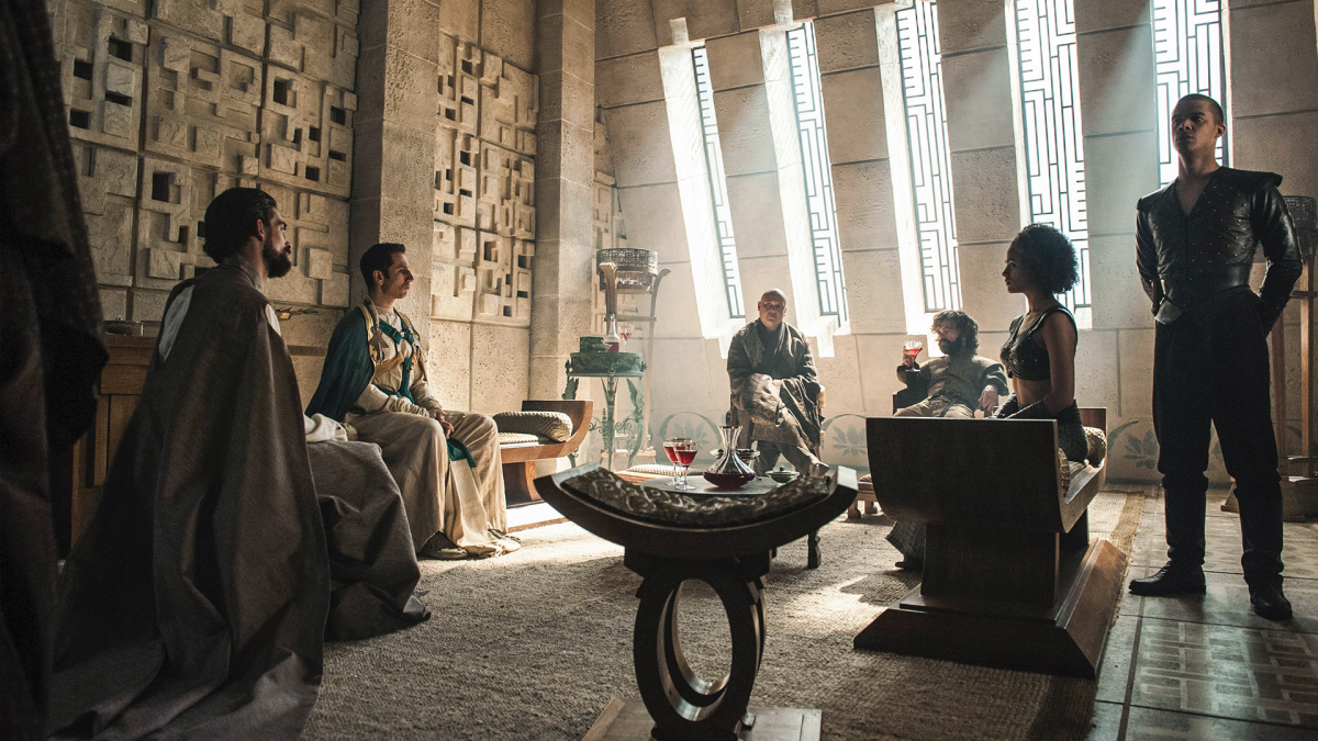 Missandei sits silently as Tyrion negotiates with the slave masters. Her participation in policy is only after the meeting is over when she opposes Tyrion's policy, but also helps sell it to the common folk.