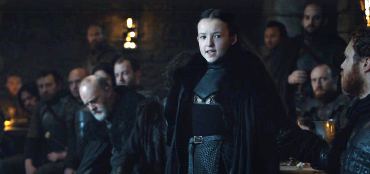 Ten-year old Lady Mormont, ruler of Bear Island, takes the northern lords to task for their cowardice while simultaneously nominating Jon Snow as King in the North.