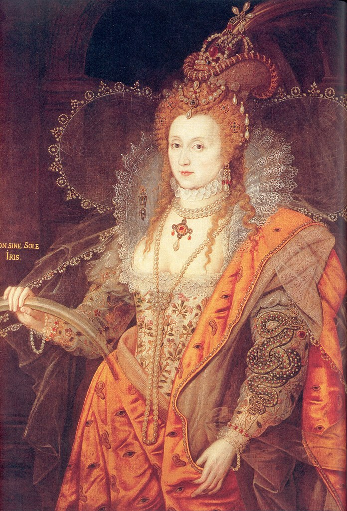 Elizabeth I, The Rainbow Portrait, In the collection of the  Marquess of Salisbury . On display at  Hatfield House . Hatfield, Hertfordshire. You may notice that there are eyes embroidered across the orange fabric and a snake on the foreground sleeve.