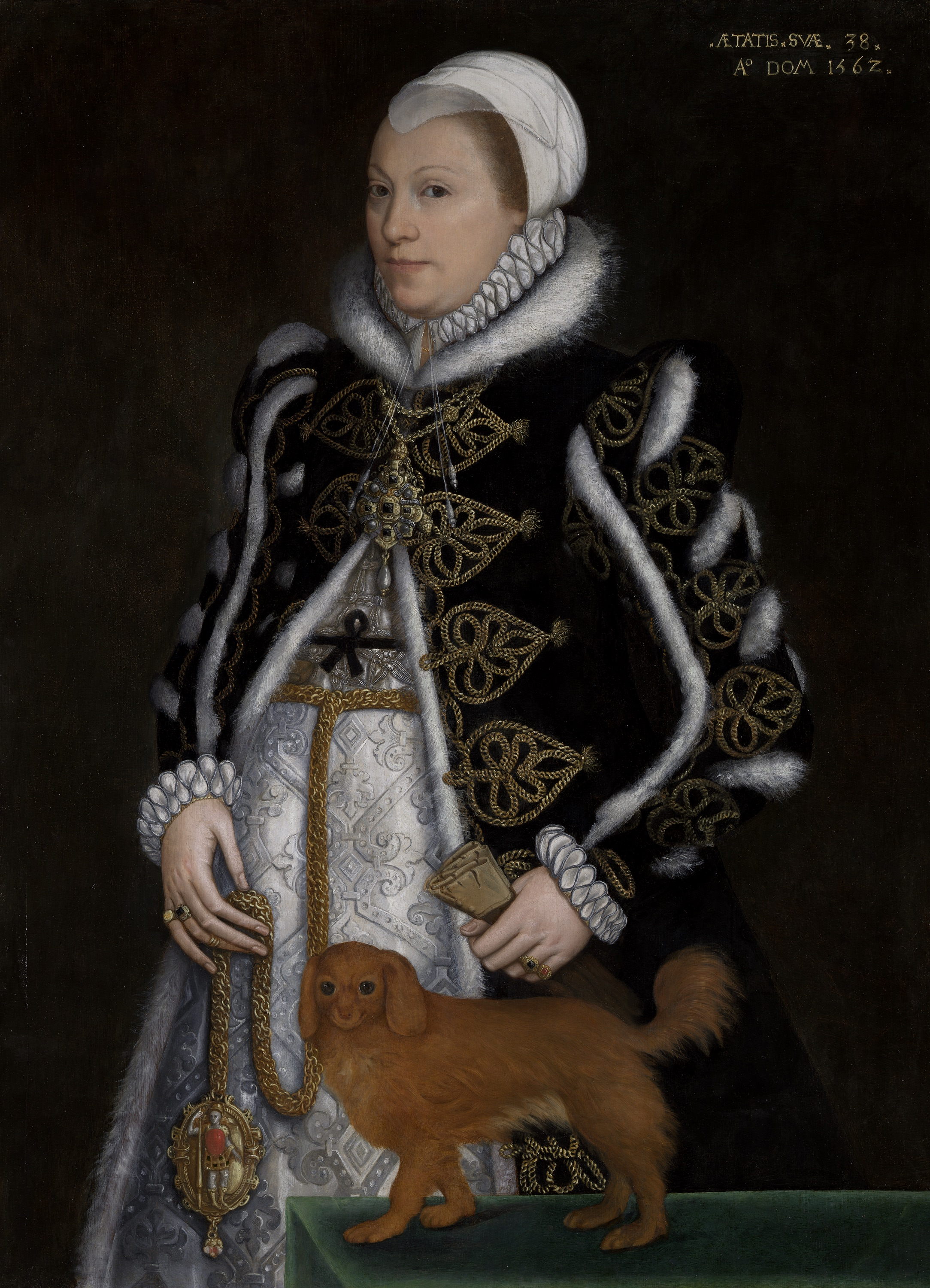 Portrait of a Woman, Probably Catherine Carey, Lady Knollys  attributed to Steven van der Meulen. Original held at the Yale Center for British Art.