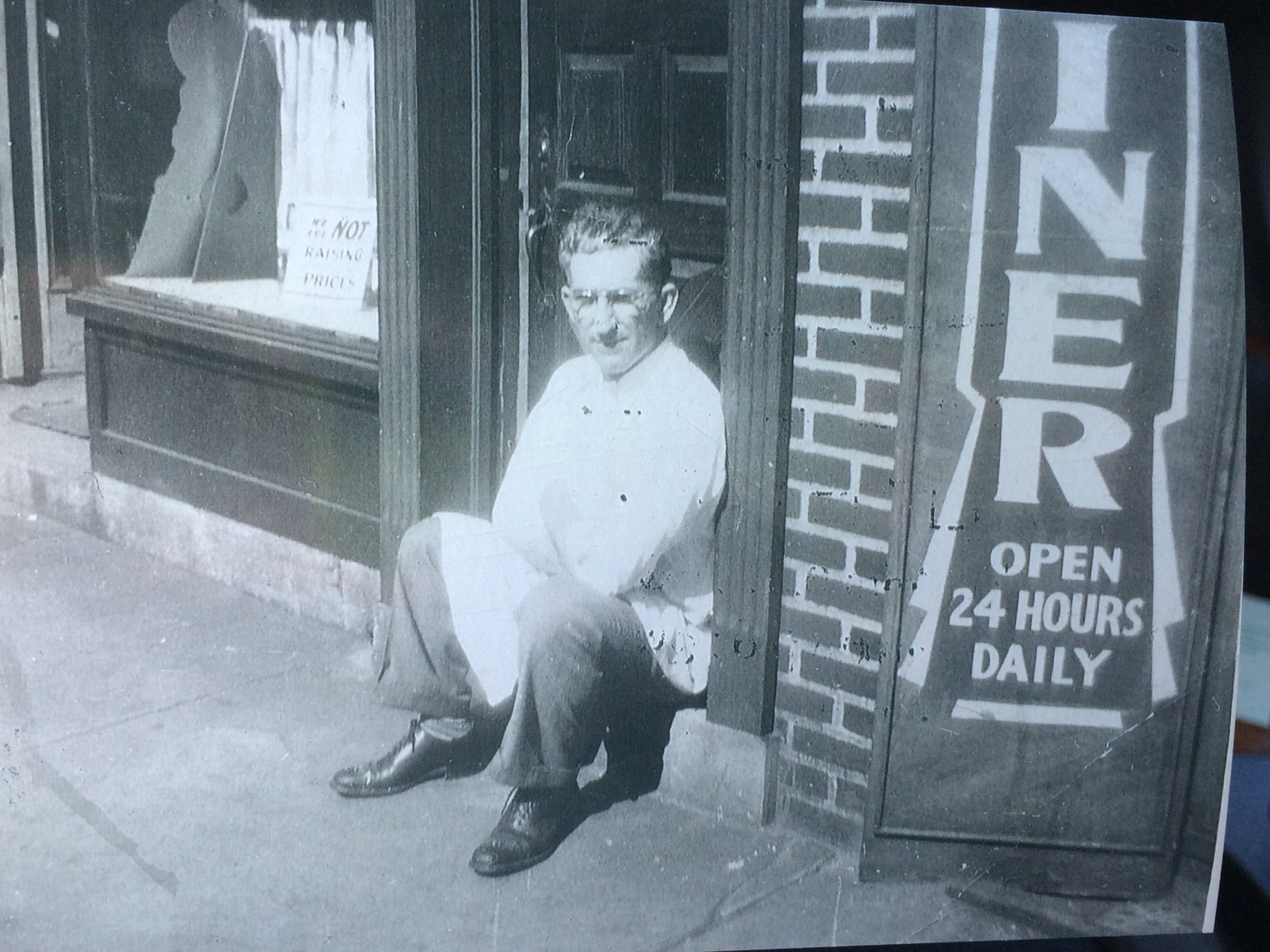 "Rose's grandfather "" Nick the Greek"" in front of Nick's"" Diner"