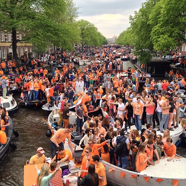 a.ka. King's Day,' people fills the canals & streets dressed in orange to celebrate. Seriously, the city goes nuts. Get ready to party.