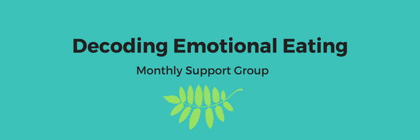 "Image: Turquoise background with text in black font ""Decoding Emotional Eating Monthly Support Group"""