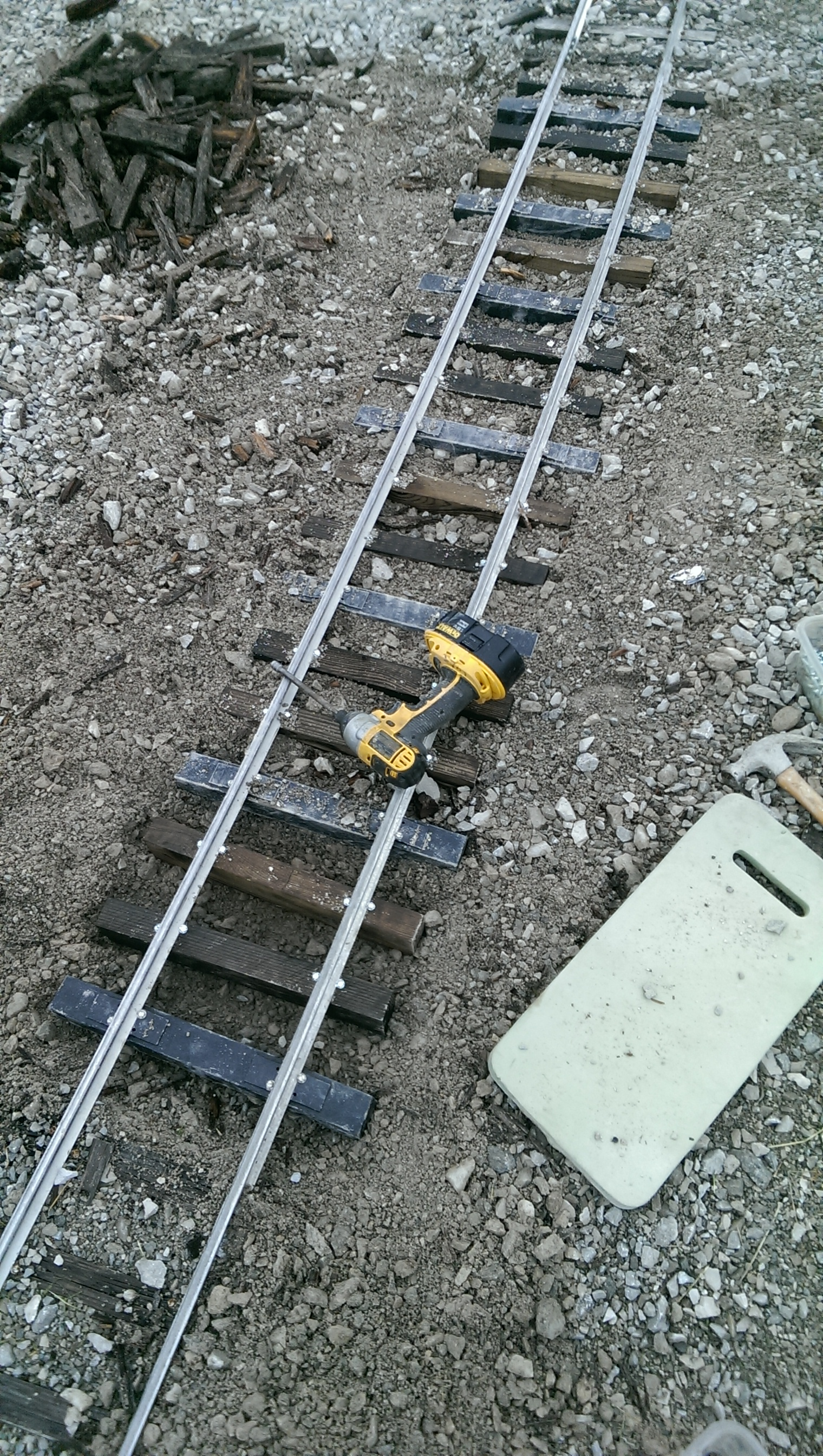 Upper Loop track (From Triple Bridge going toward High Bridge)getting some new plastic and wood ties. Photo Taken during repairs.