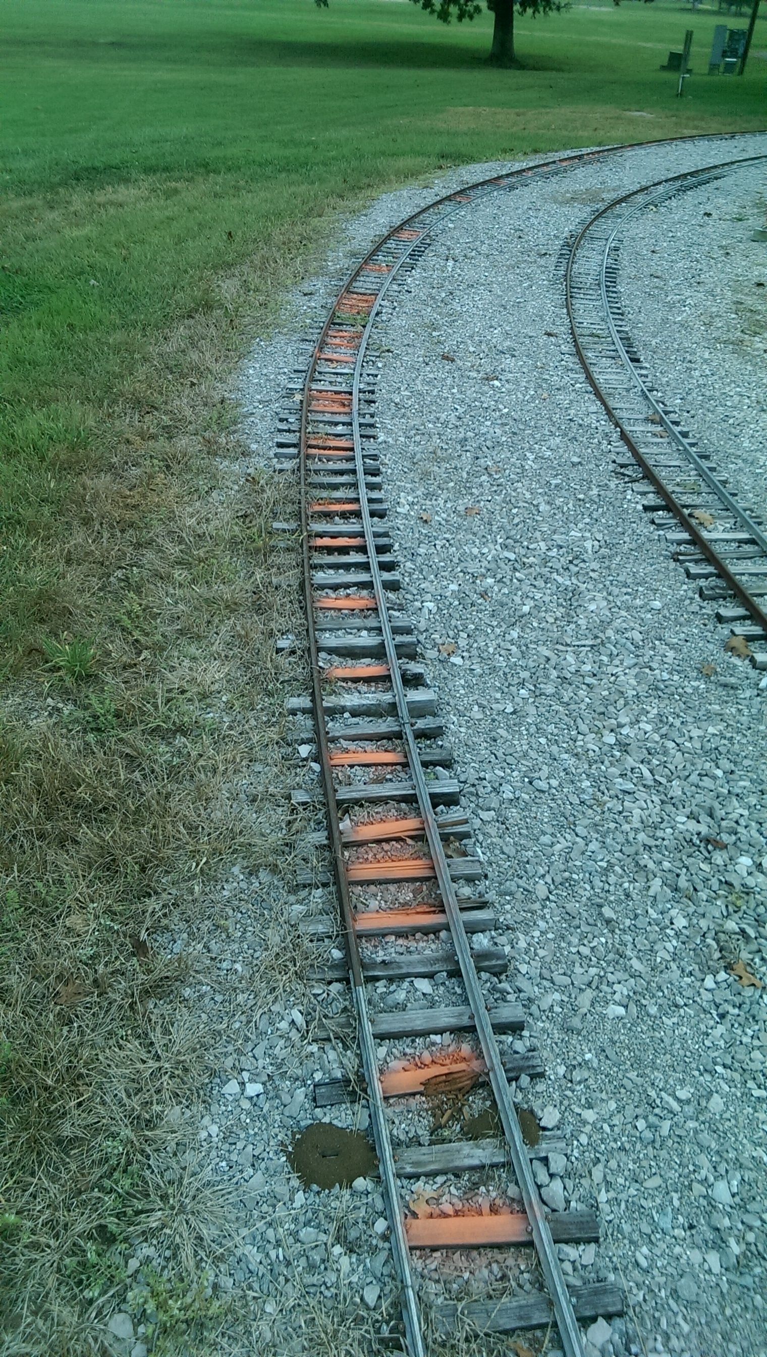 Currently, work is being done to replace the ties on the Upper Loop section just before the high bridge. The ties marked in orange were in very bad shape so the entire section is being replaced. There is also some heat expansion issues to correct.