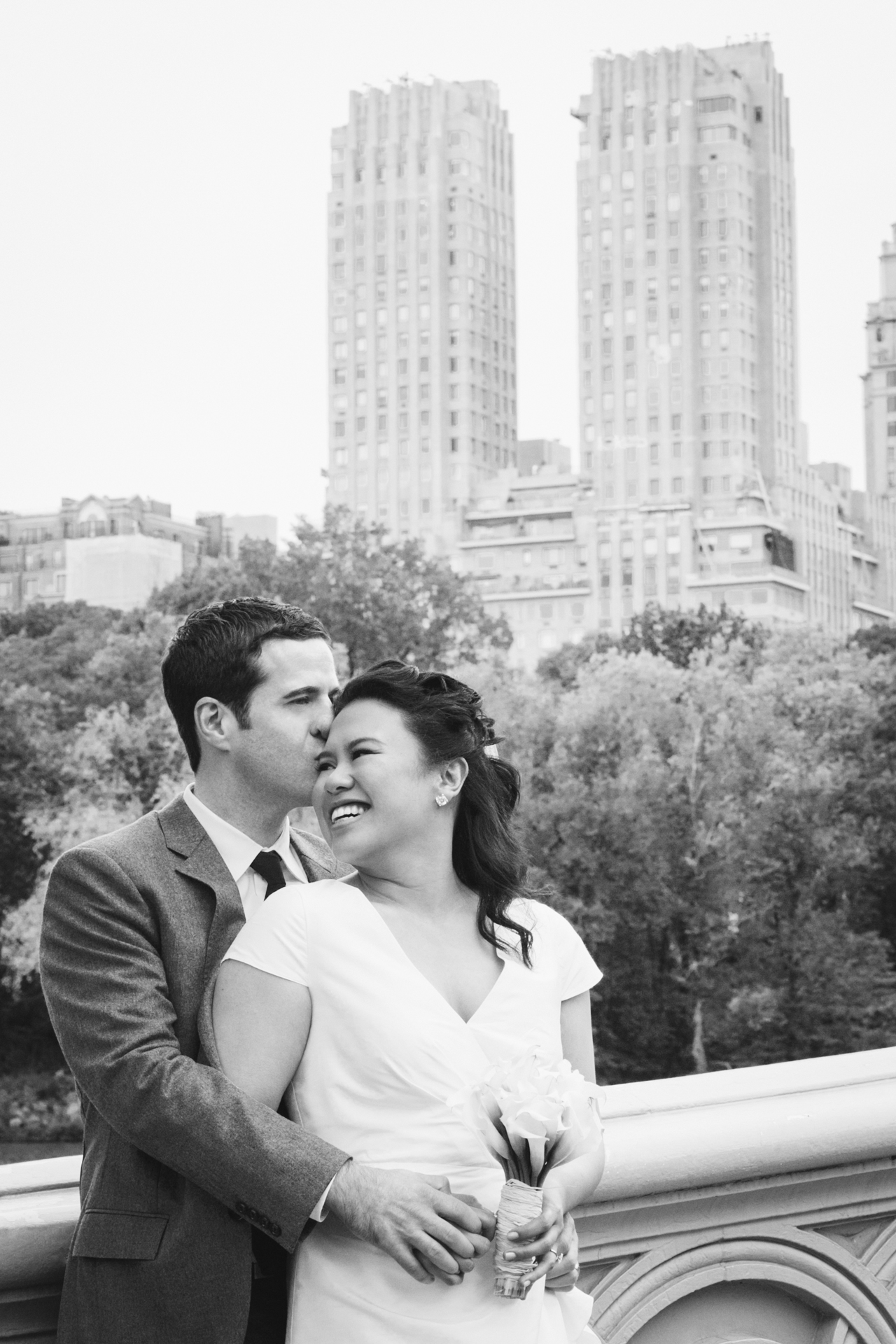 The bride and groom meet before their ceremony in Central Park NYC