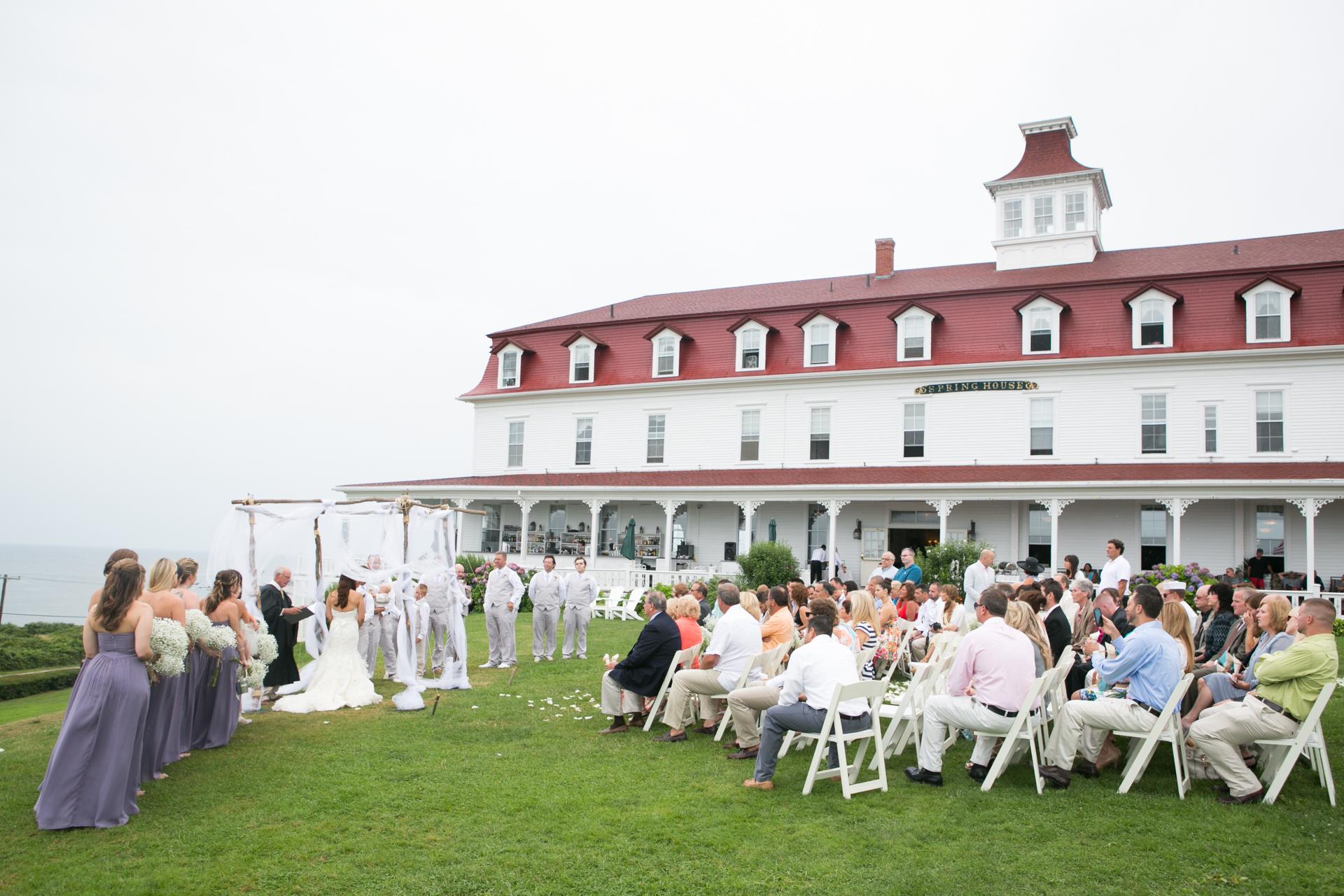 A wedding ceremony near the ocean in New York, showcasing the venue