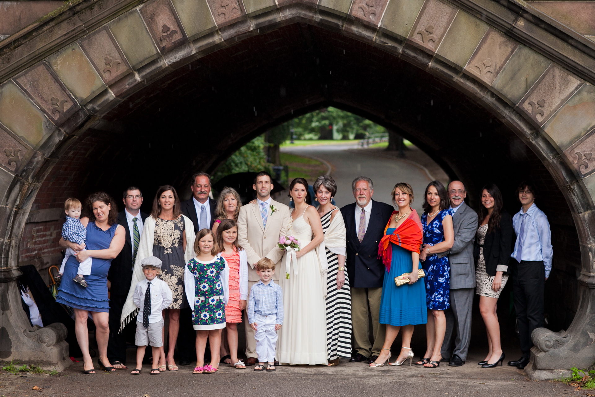 The bride and groom's families in Central Park, NYC