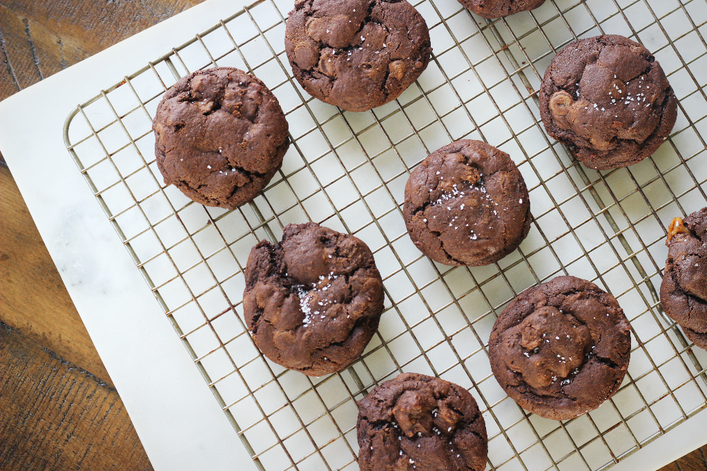 Salted Dark Chocolate Caramel Cookies