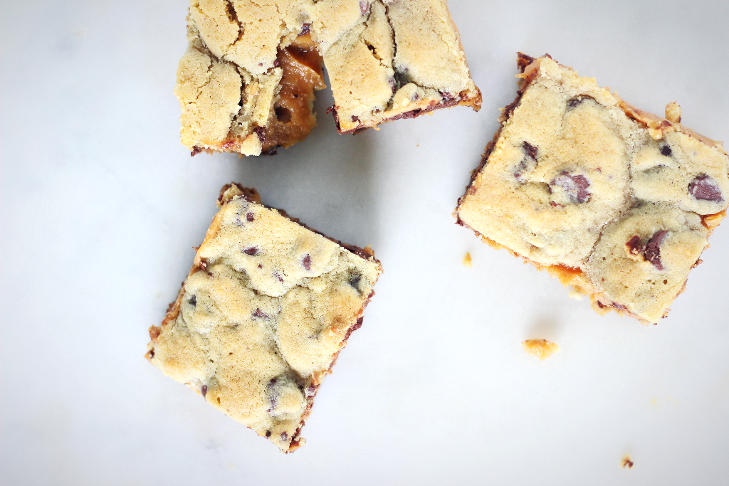 chocolate chip cookie caramel bar