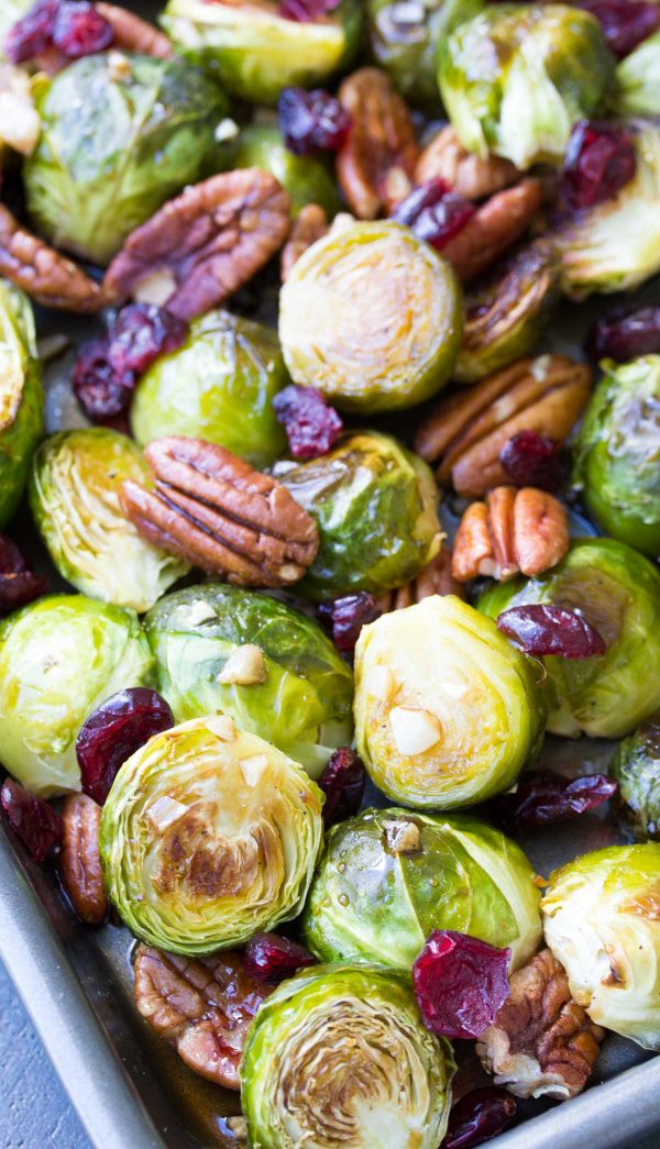 maple balsamic roasted brussel sprouts