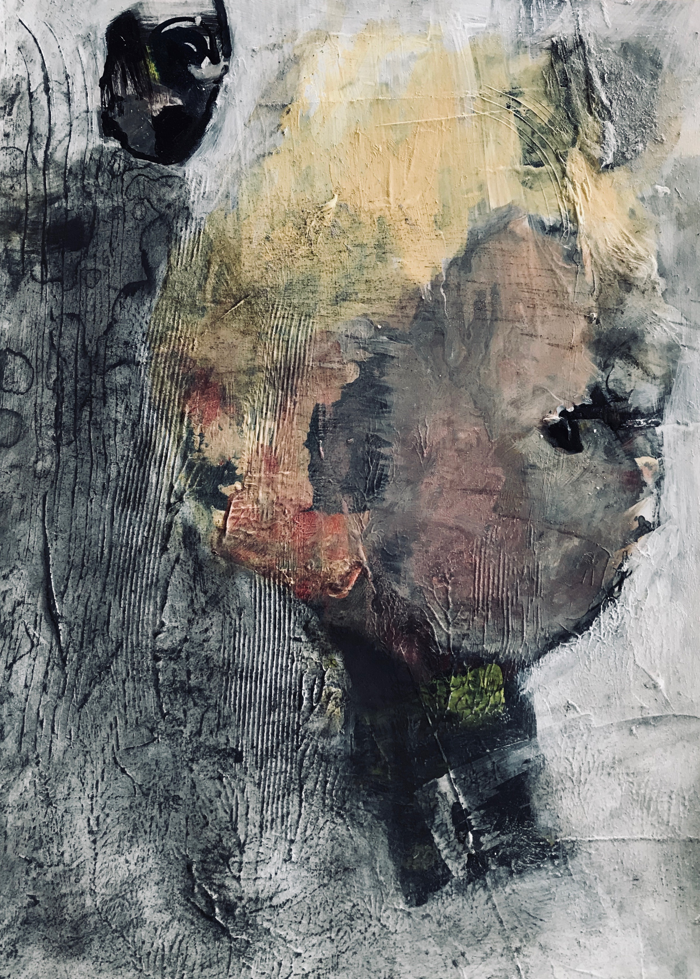Beware lurking shadows, acrylic mixed media, 29.7x42 cm