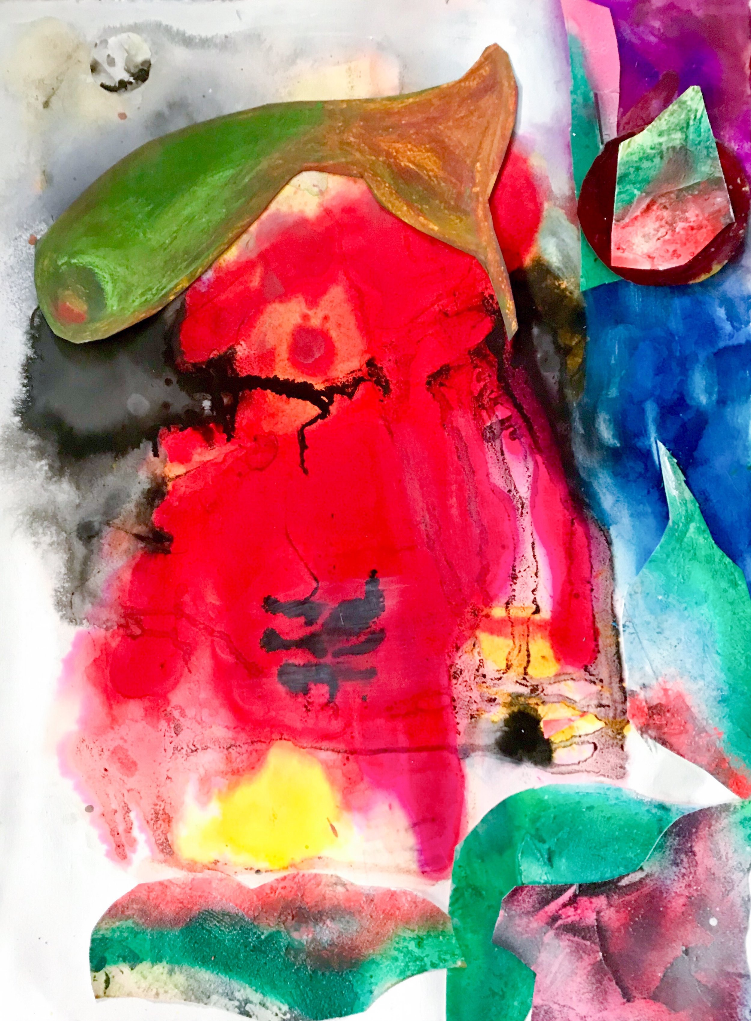 Fish jumped out of water confused, abstraction or realism
