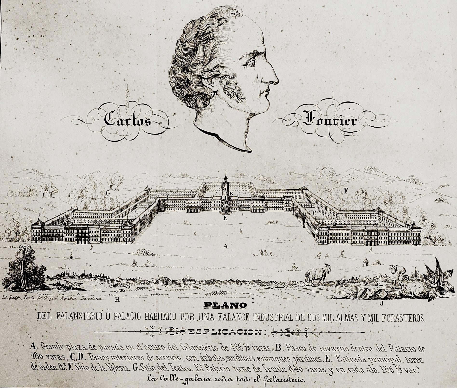 Plano del falansterio u palacio habitado por una falange industrial de dos mil almas y milk forasteros