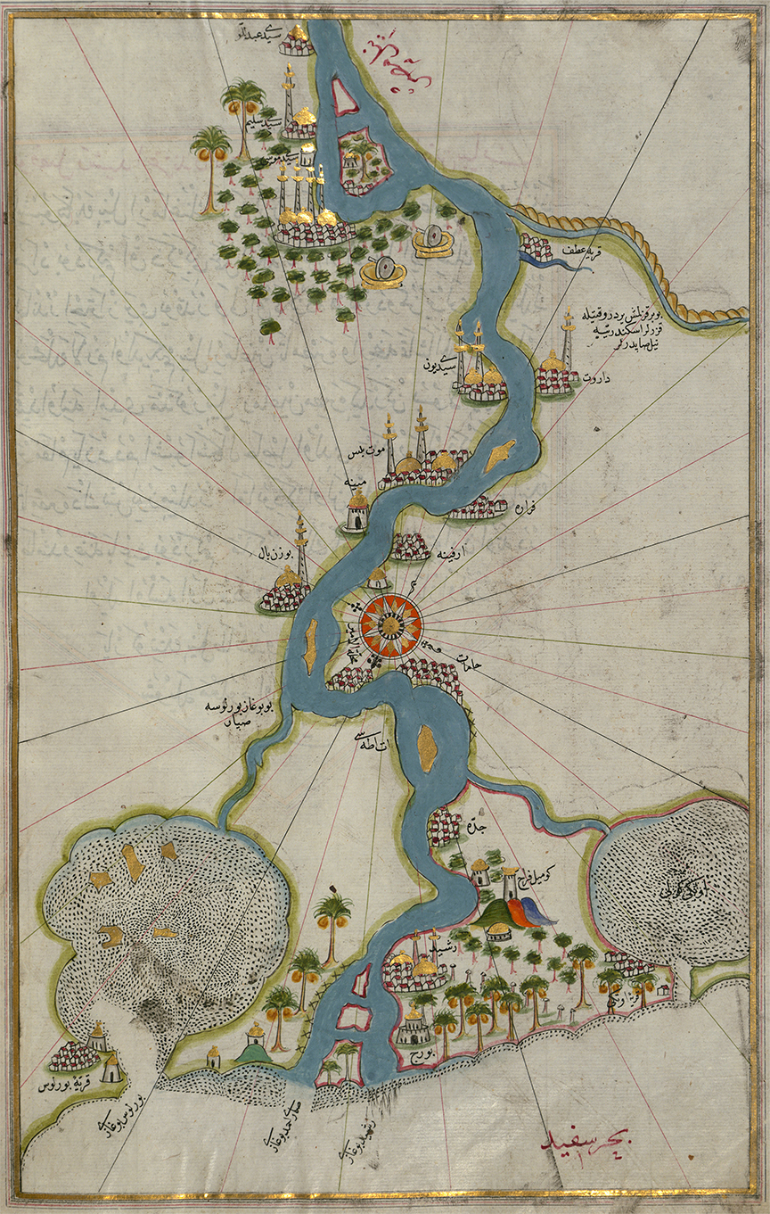 Piri Reis - Map of the River Nile From Its Estuary South