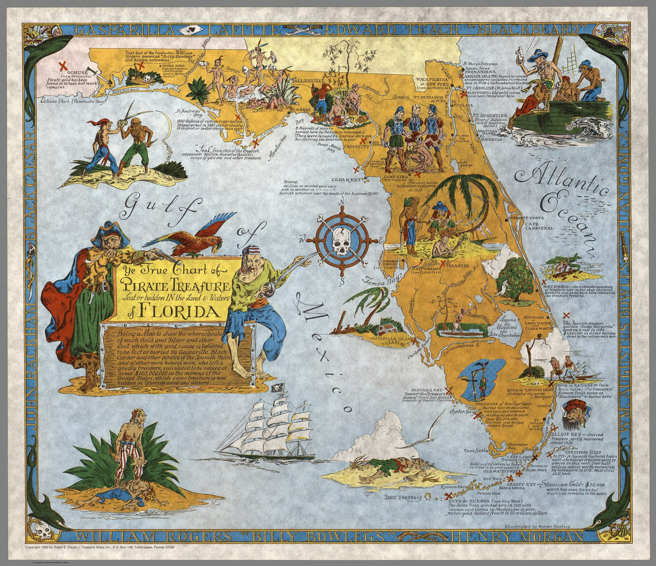 Ye True Chart of Pirate Treasure Lost or Hidden In the Land & Waters of Florida