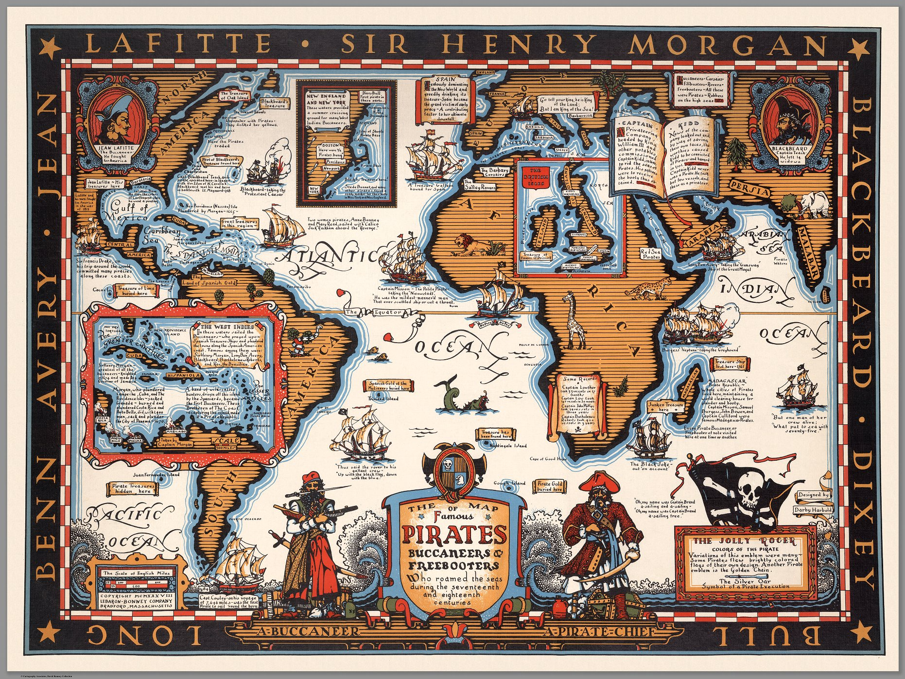 The Map of Famous Pirates, Buccaneers, and Freebooters