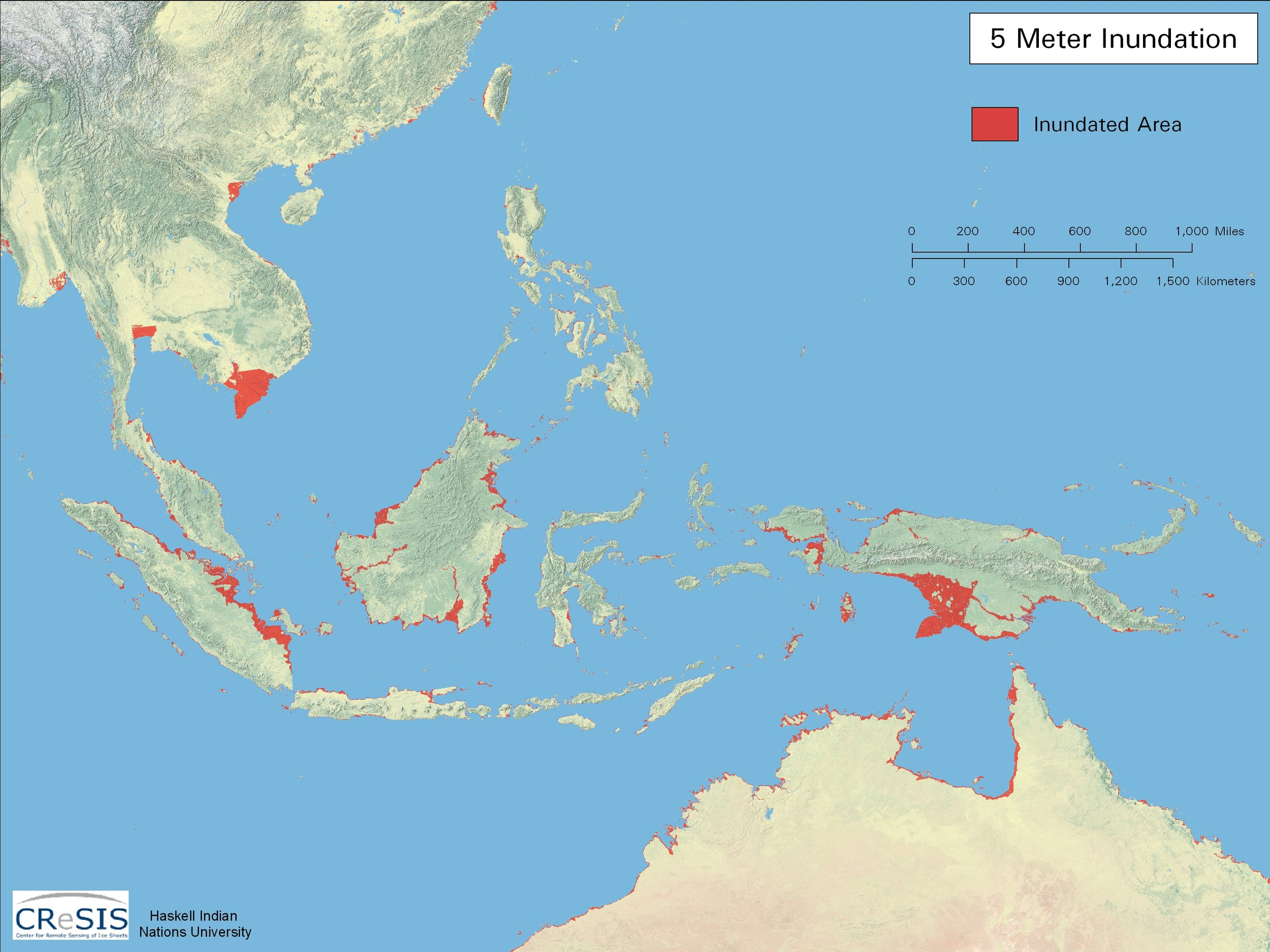Southeast Asia: 5 Meter Inundation