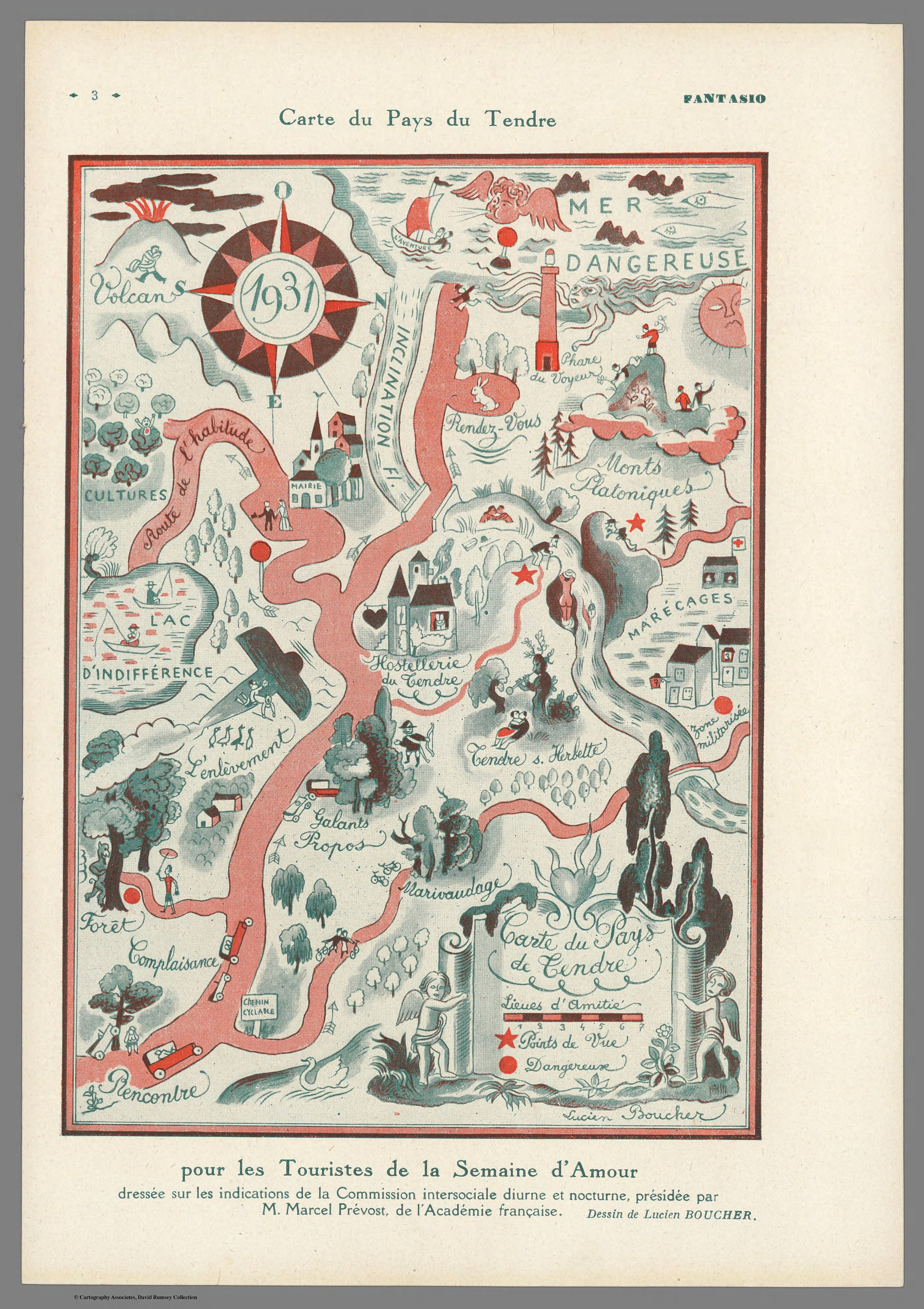 """Carte du Pays de Tendre (""""Map of the Country of Tendre"""")"""