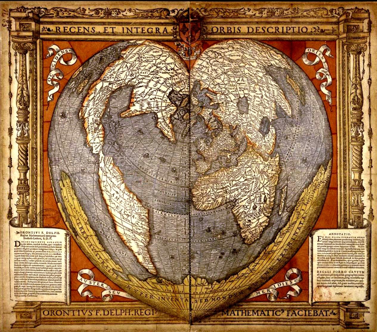 Mappemonde en forme de cœur montrant la Terre australe