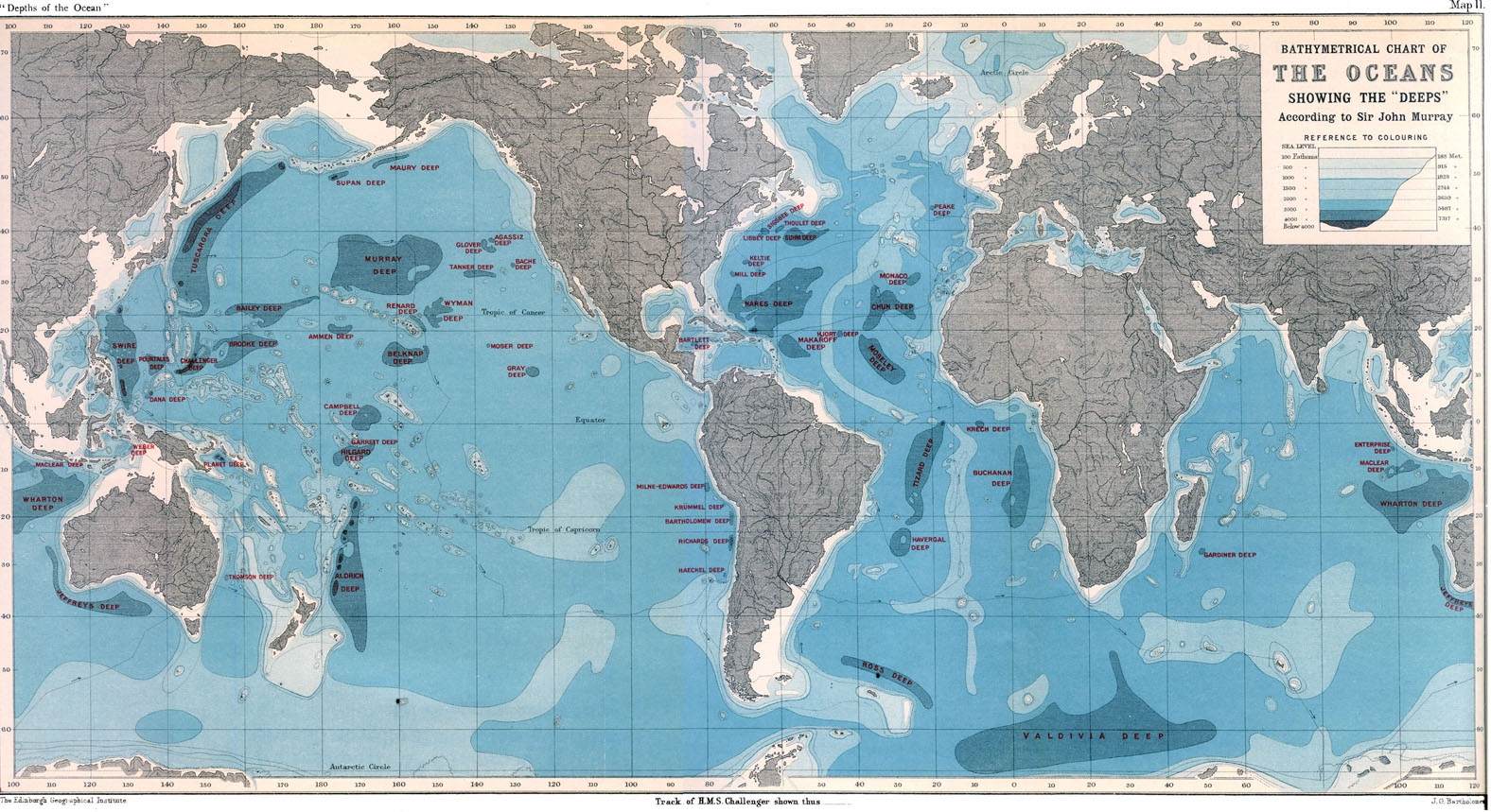 "Bathymetrical Chart of the Oceans Showing the ""Deeps"""