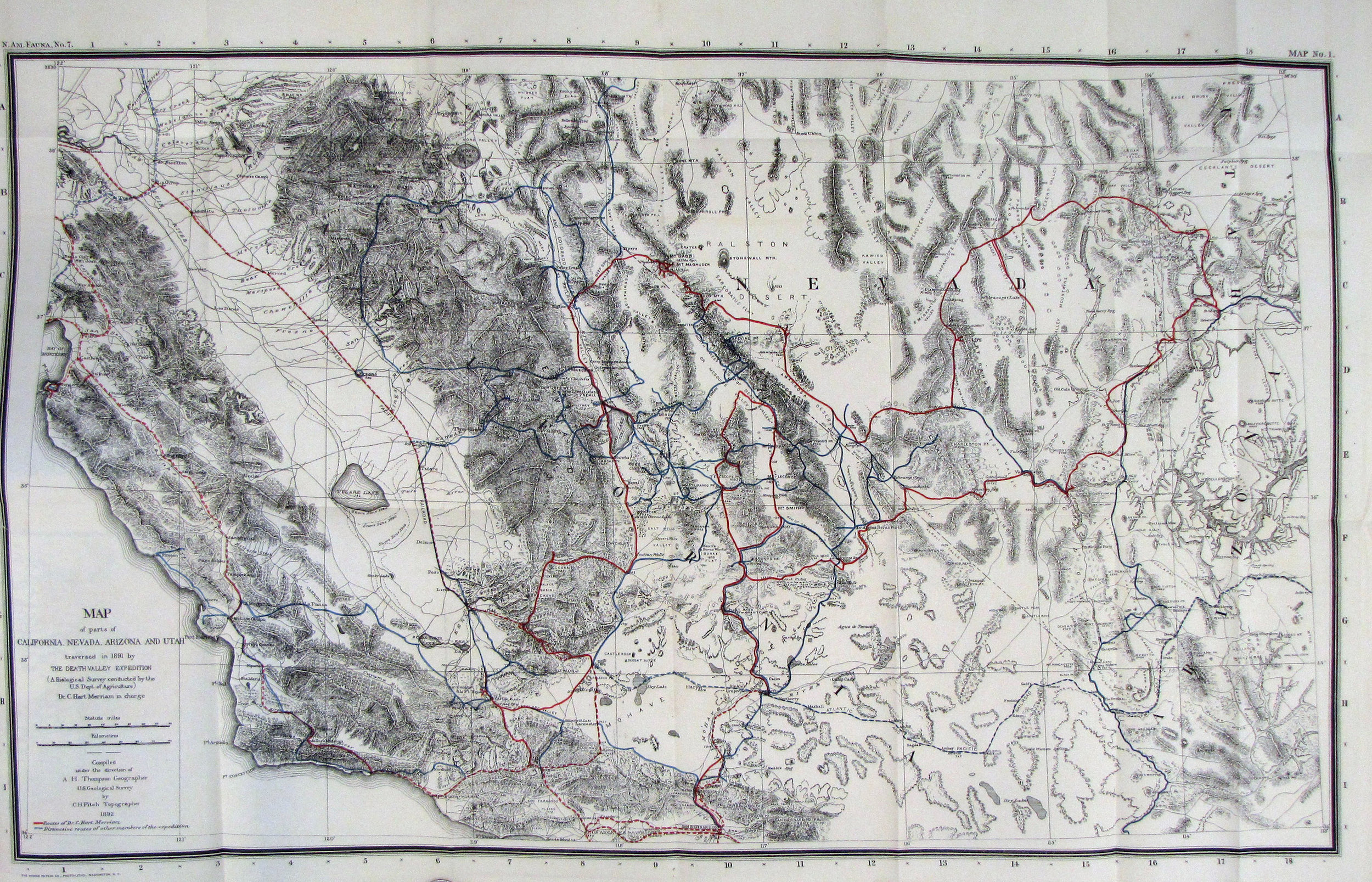 Map of parts of California, Nevada, Arizona, and Utah traversed in 1891 by The Death Valley Expedition