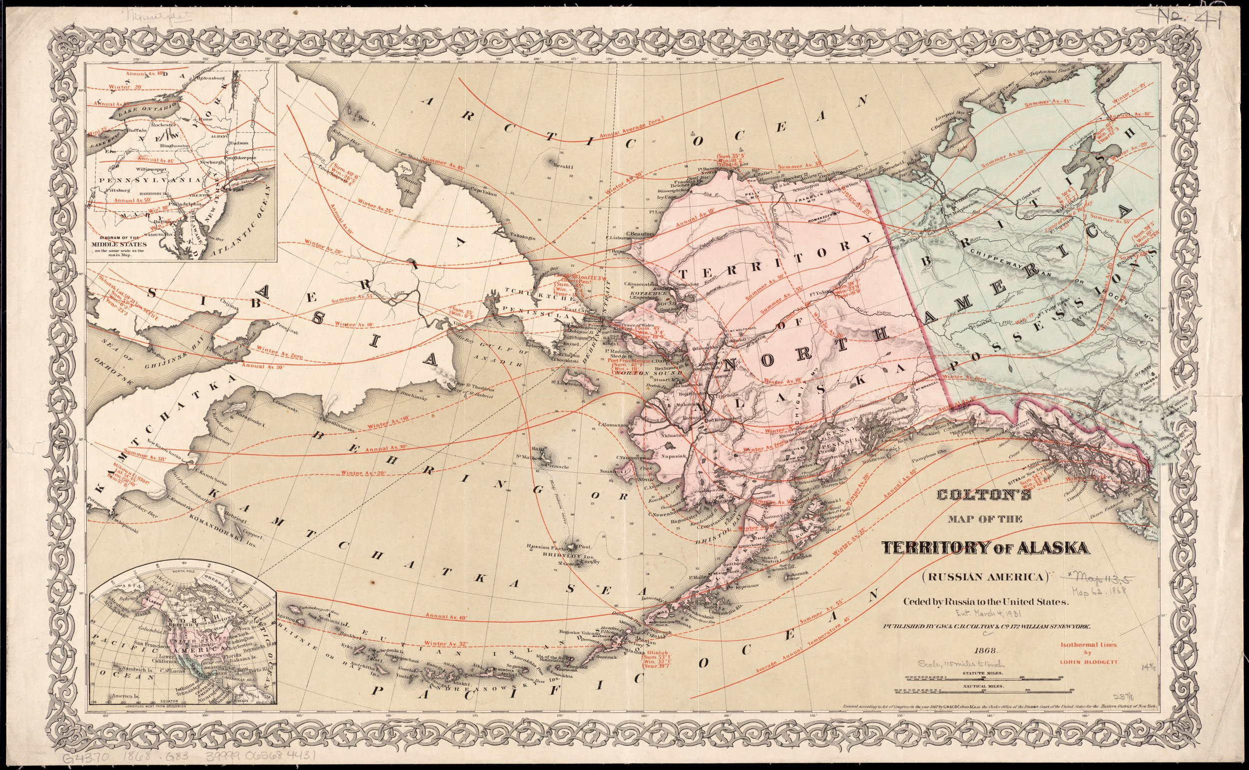 Colton's map of the territory of Alaska : (Russian America) ceded by Russia to the United States