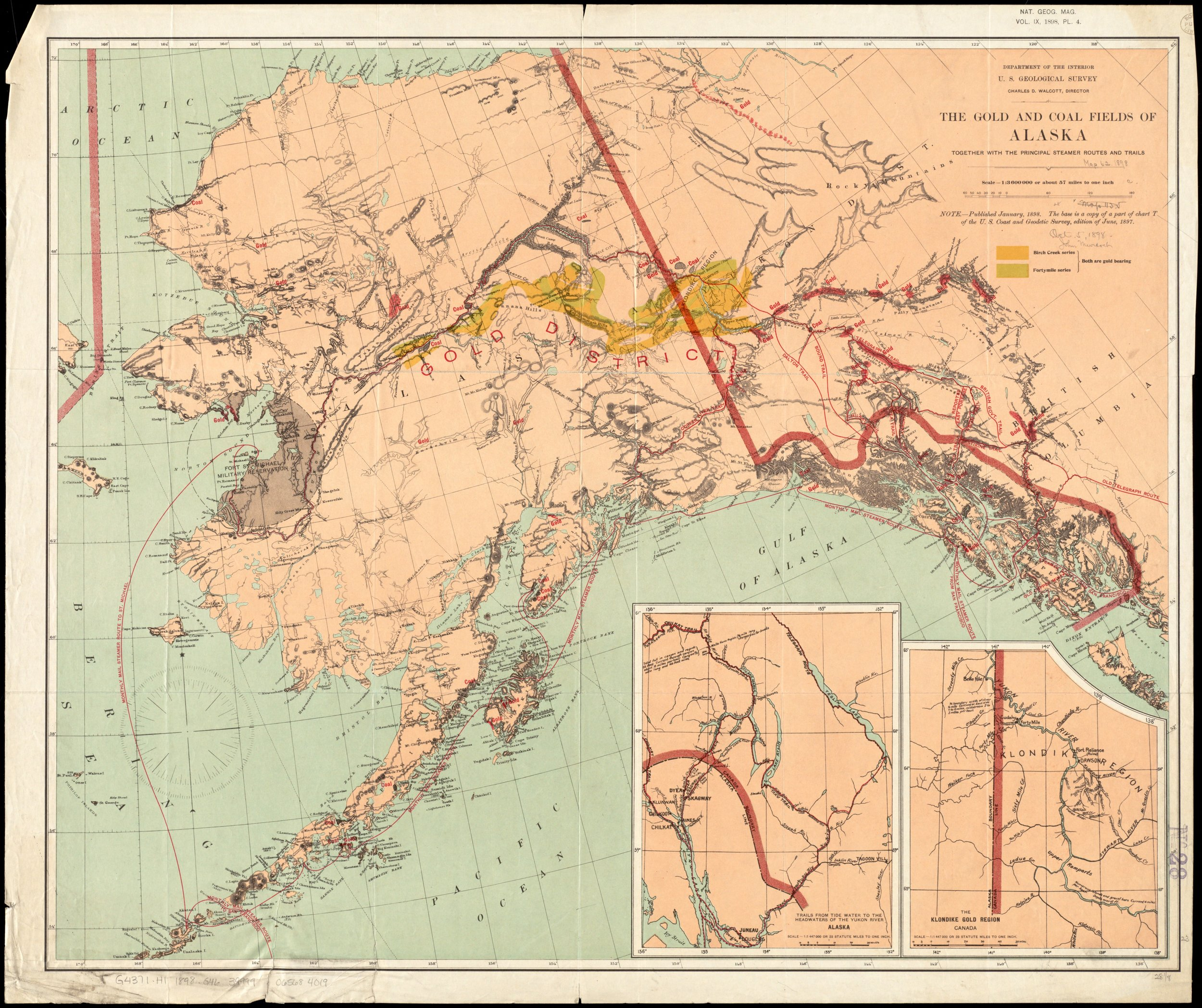 The gold and coal fields of Alaska : together with the principal steamer routes and trails