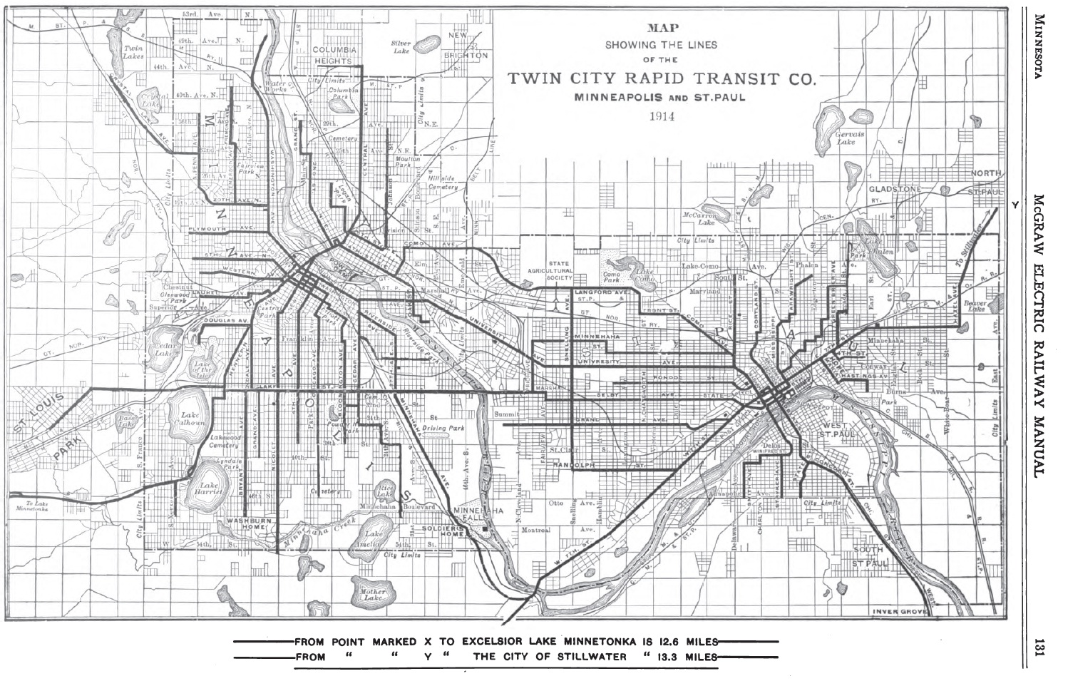 Map Showing the Lines of the Twin City Rapid Transit Co.: Minneapolis and St. Paul