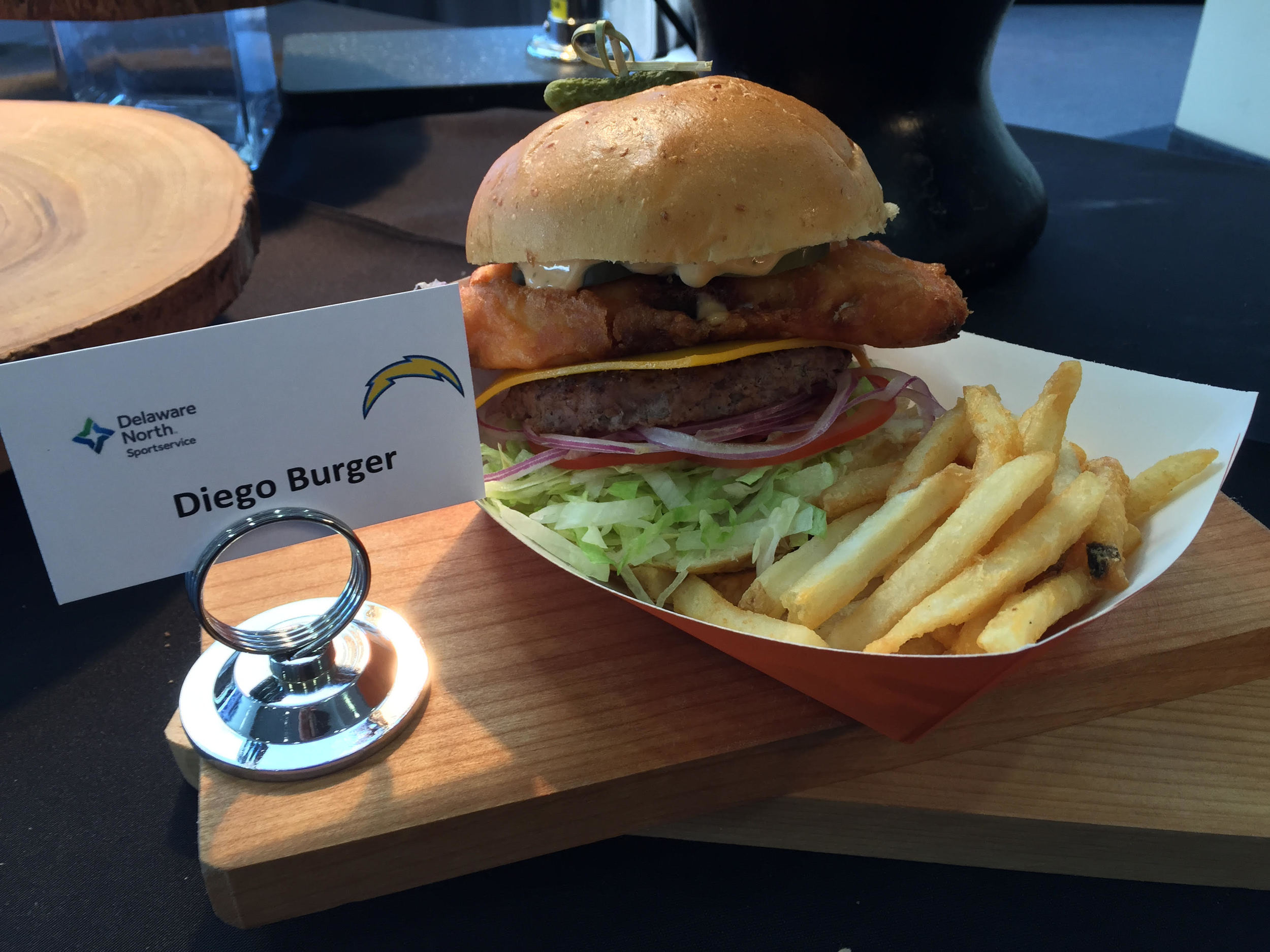 Diego Burger   – American Cheese with fried chile relleno, lettuce, tomato, onions and pickle chips