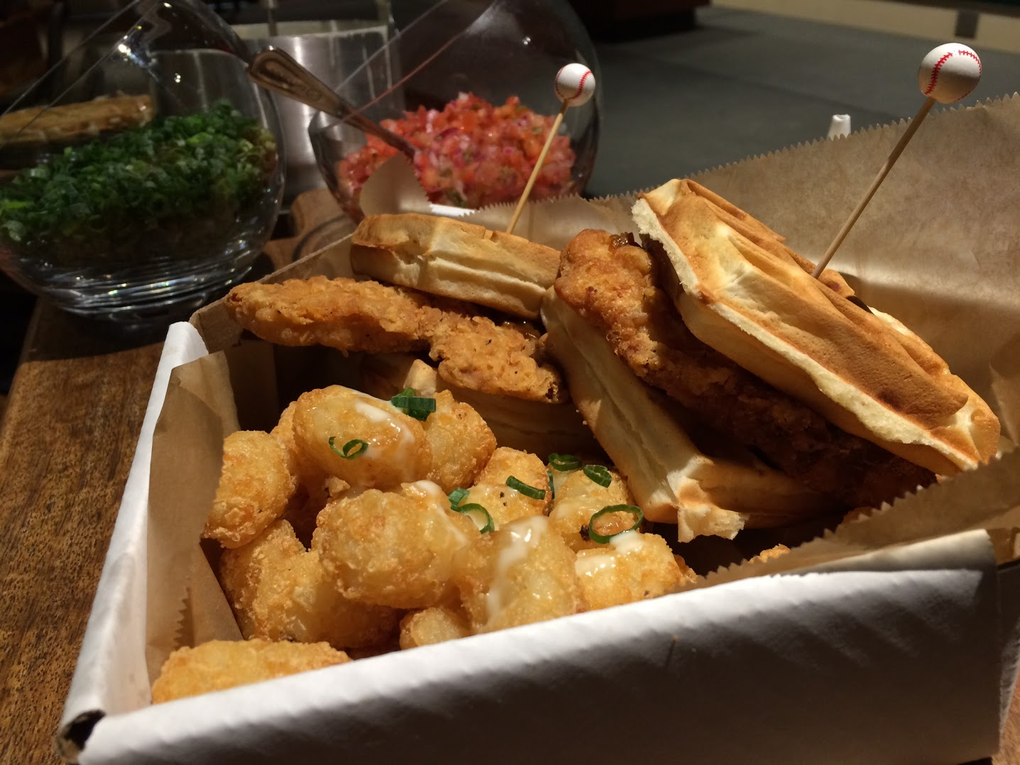 Waffle sandwich in home plate box served with tater tots at Busch Stadium in St. Louis (Photo: St. Louis Cardinals).
