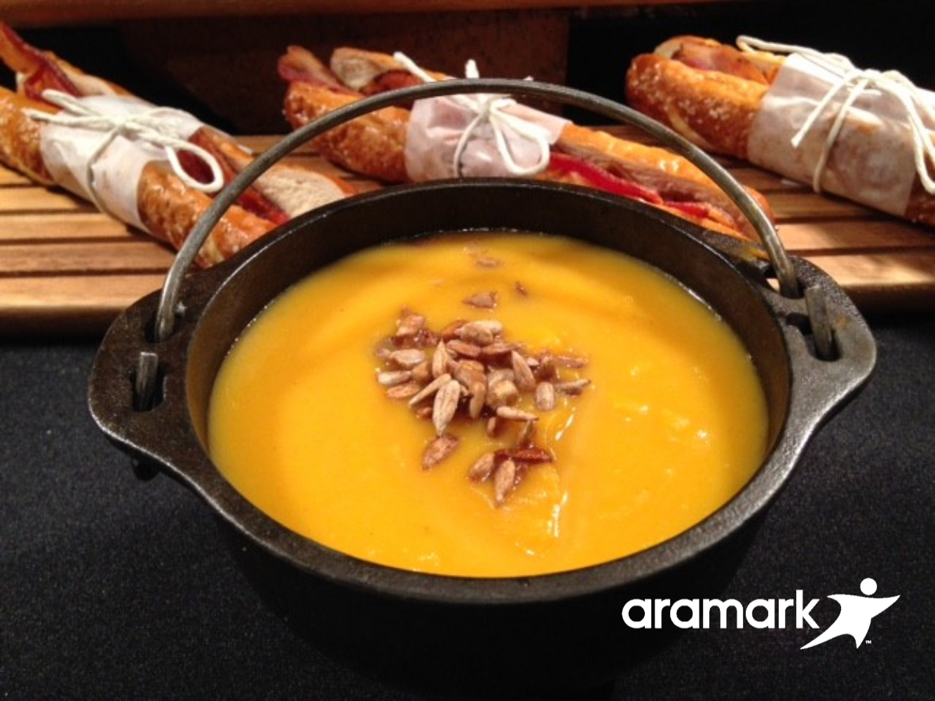 If the weather turns cold this butternut squash bisque will warm you up (Aramark Sports)