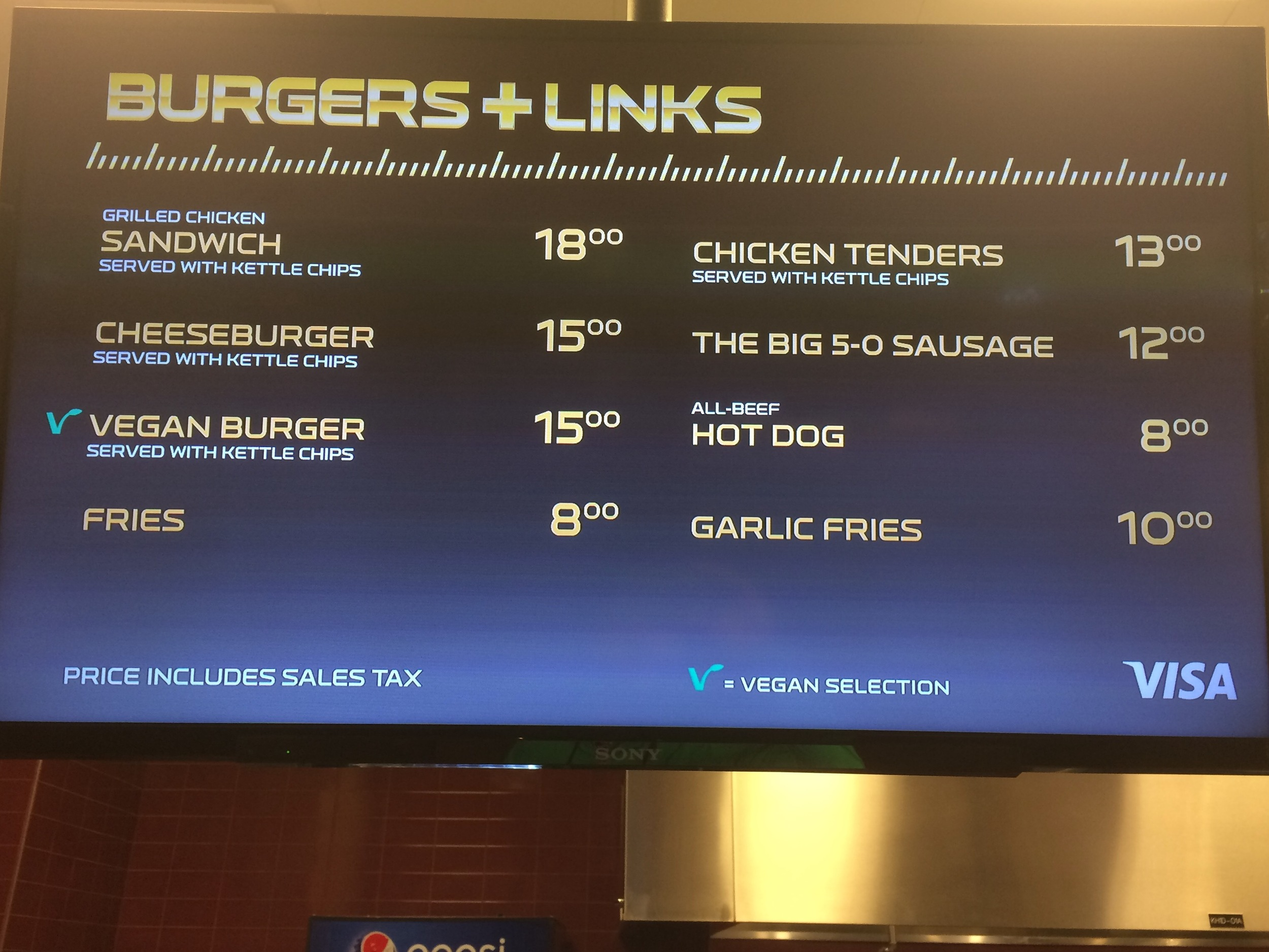Standard menu options include chicken sandwiches, burgers, hot dogs and vegan burgers