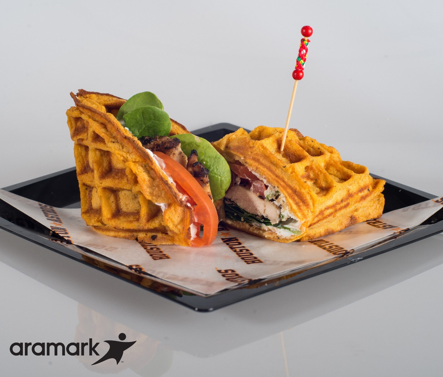 Sweet Potato Waffle Chicken Sandwich – Homemade sweet potato waffle with grilled chicken breast, Greek yogurt, baby spinach and sliced tomatoes (Minute Maid Park, Urban Bistro, Section 226)