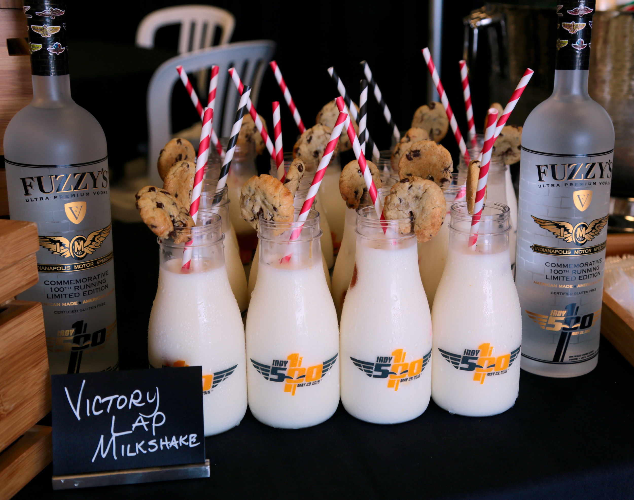 Victory Lap Milkshake - $12  Cookies and milk, for grown ups, is a salted caramel milkshake for 21+ racing fans, spiked with Fuzzy's Vodka, served in a commemorative Indy 500 milk bottle, topped with a Clabber Girl chocolate chip cookie.  Available in Concessions, Gate 1 area, Hulman Terrace Club. (Photo/Levy Restaurants)