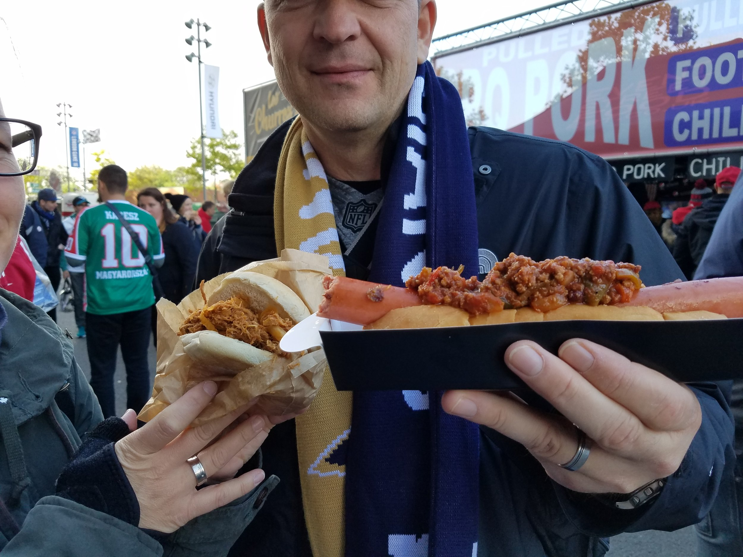 Foot Long hot dog & pulled pork sandwiches available.