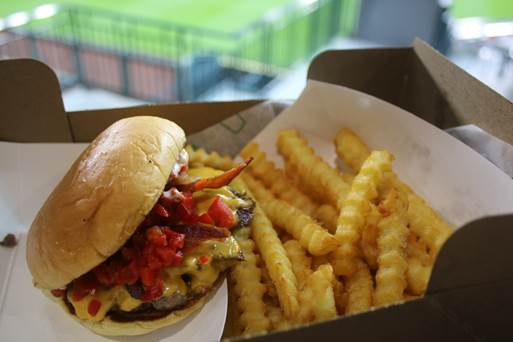 Shake Shack's SmokeShack – Cheeseburger with all-natural smoked Niman Ranch bacon, chopped cherry pepper and ShackSauce along with crinkle cut fries.
