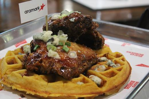 Sweet Chipotle Fried Chicken & Bleu Cheese Waffle – Country style fried chicken with a sweet raspberry chipotle sauce topped with bleu cheese on a sweet potato waffle.