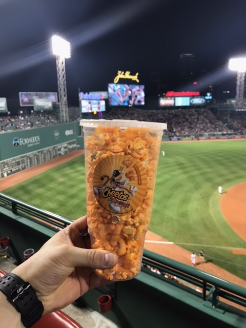 Cheetos popcorn, with a view.