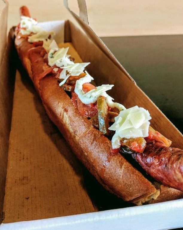 "At Senators Sausage in Section 108, Section 134 and Section 224, fans will enjoy the Local Artisan Jumbo Sausage: a 24"" Pepperoni & Cheddar Sausage with spicy pepperonata, herbed ricotta, and shaved parmesan"
