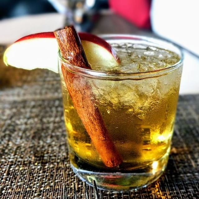 The Cinnamon-Apple Curveball includes Smirnoff Vodka, amaretto, farm-fresh apple cider garnished with a cinnamon stick and apple slice. Available at all bars throughout the ballpark
